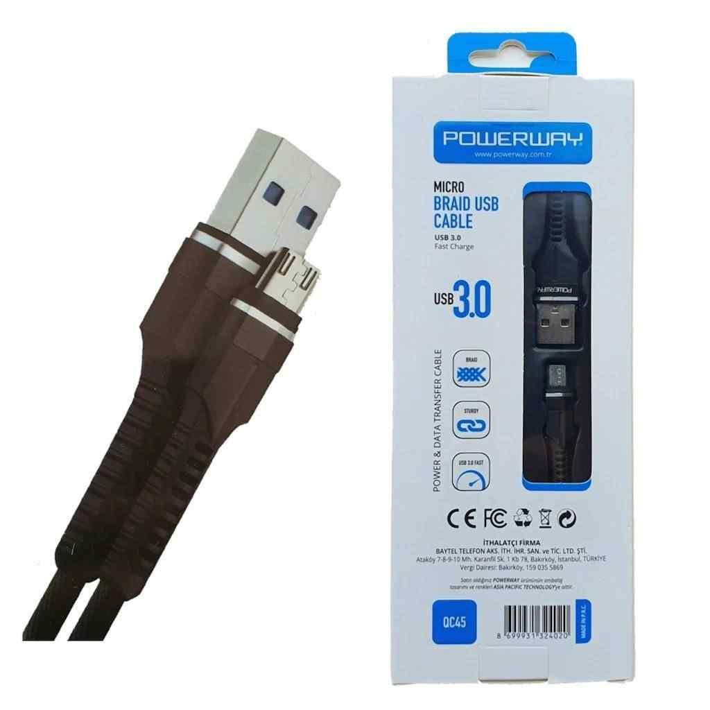 Powerway Micro USB Hızlı Şarj ve Data Aktarım Halat Kablo USB 3.0 QC45