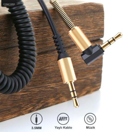 Concord C-807 1.8m Metre 3.5mm AUX L Spiral Ses Aktarım Kablosu