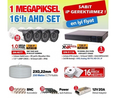 16 KAMERALI | 1.0 MP AHD KOMPLE SET 1 MEGAPİXEL XMeye JT-06