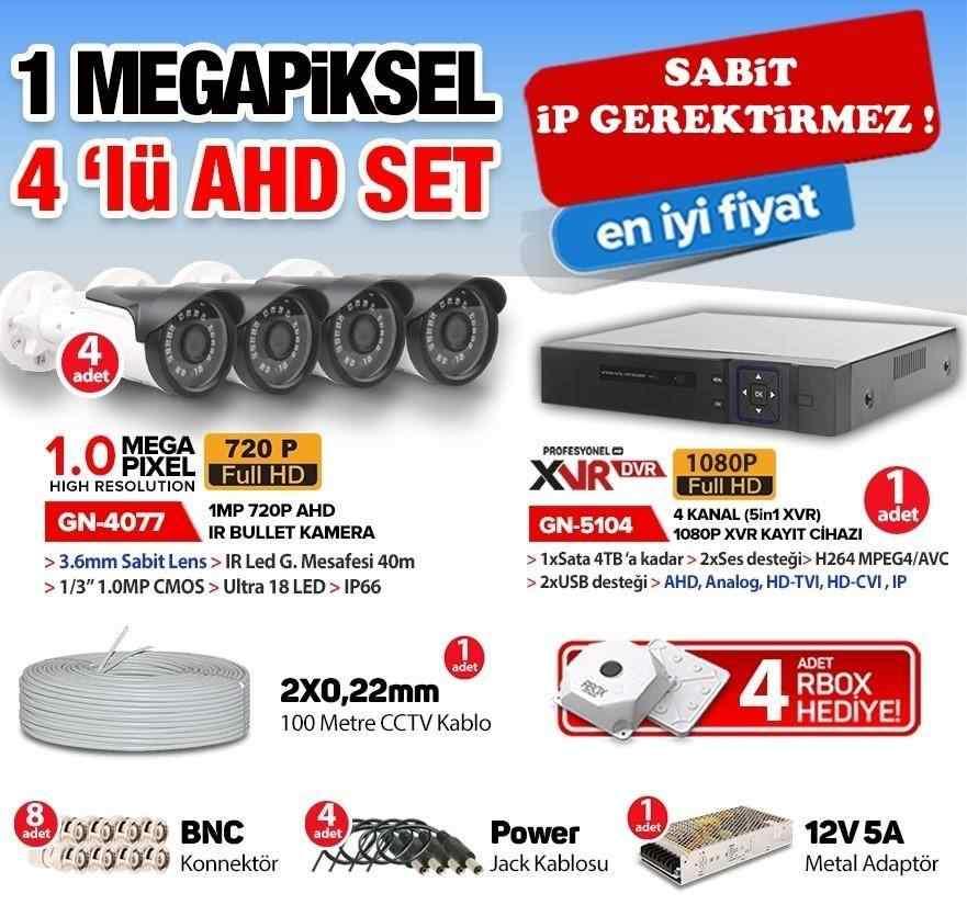 4 KAMERALI | 1.0 MP AHD KOMPLE SET 1 MEGAPİXEL XMeye JT-04