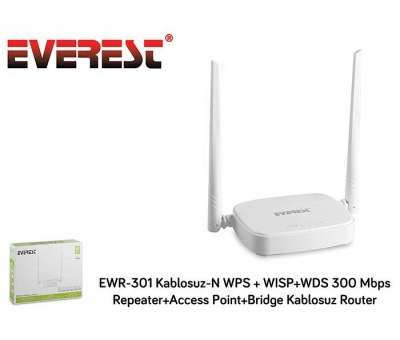 Everest EWR-301 Kablosuz-N 300 Mbps Repeater Access Point Bridge Kablosuz Router
