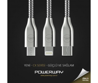 Powerway Lightning İphone 2.1A 1 Metre Hızlı Data Şarj Kablosu CX02