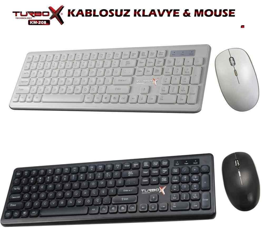 Turbox KM-20 Black Wireless Multimedya TR Q Klavye Mouse Set
