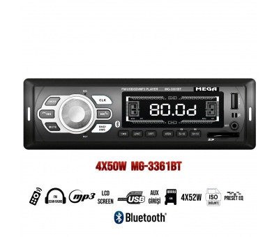 OTO TEYP USB/SD/UK/FM/BT BLUETOOTH 4X50W MEGA MG-3361BT