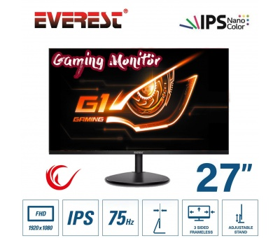 Everest M-735 27'' inch iPS Gaming Oyuncu FHD 75Hz Çerçevesiz Monitor (HDMI+VGA)