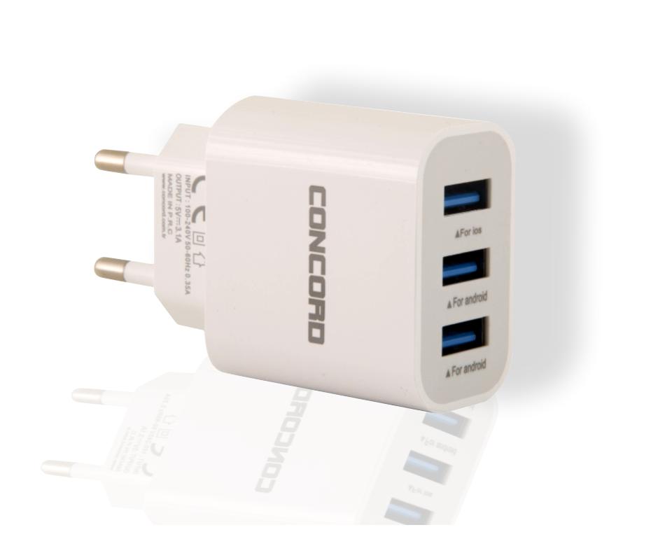 Concord C-750 | 3.1A | 3 in USB Hızlı Başlık Şarj