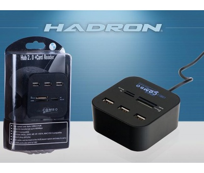 HADRON HD160 USB HUB 3 PORT +TF & SD & PRO DUO CARD READER