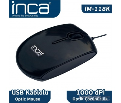Inca IM-118K Usb Optik Piano Black Mouse