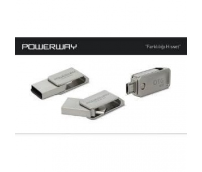 POWERWAY 8GB OTG METAL USB 2.0 FLASH BELLEK PO-8GB