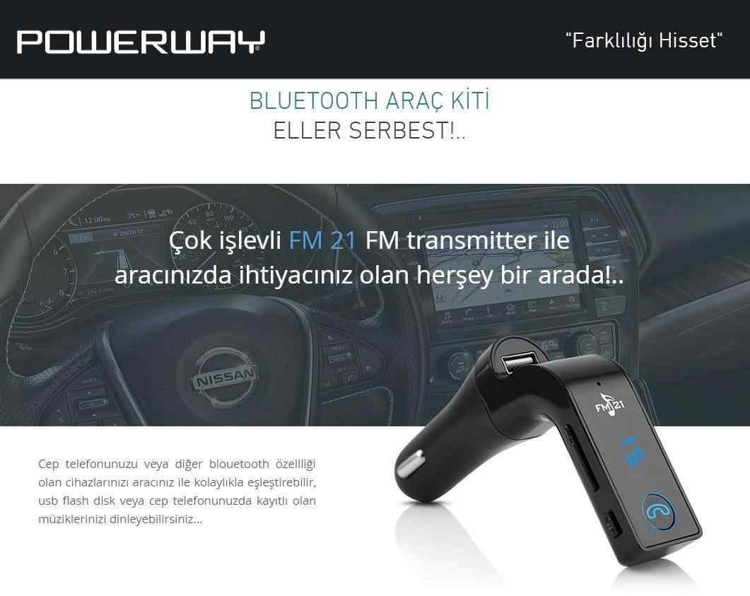 POWERWAY FM-21 | Bluetooth Araç Kiti FM Transmitter USB MicroSD