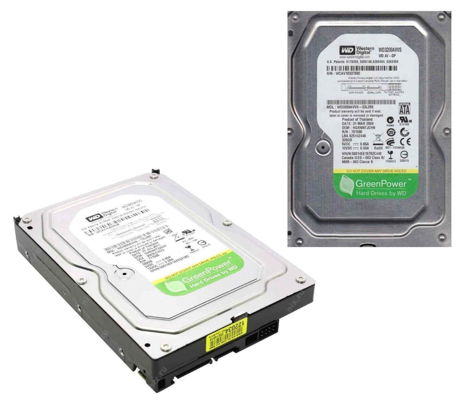 WD 320GB 7200RPM 3.0Gb/s 3.5 8MB SATA2 3.5 WD3200AVVS