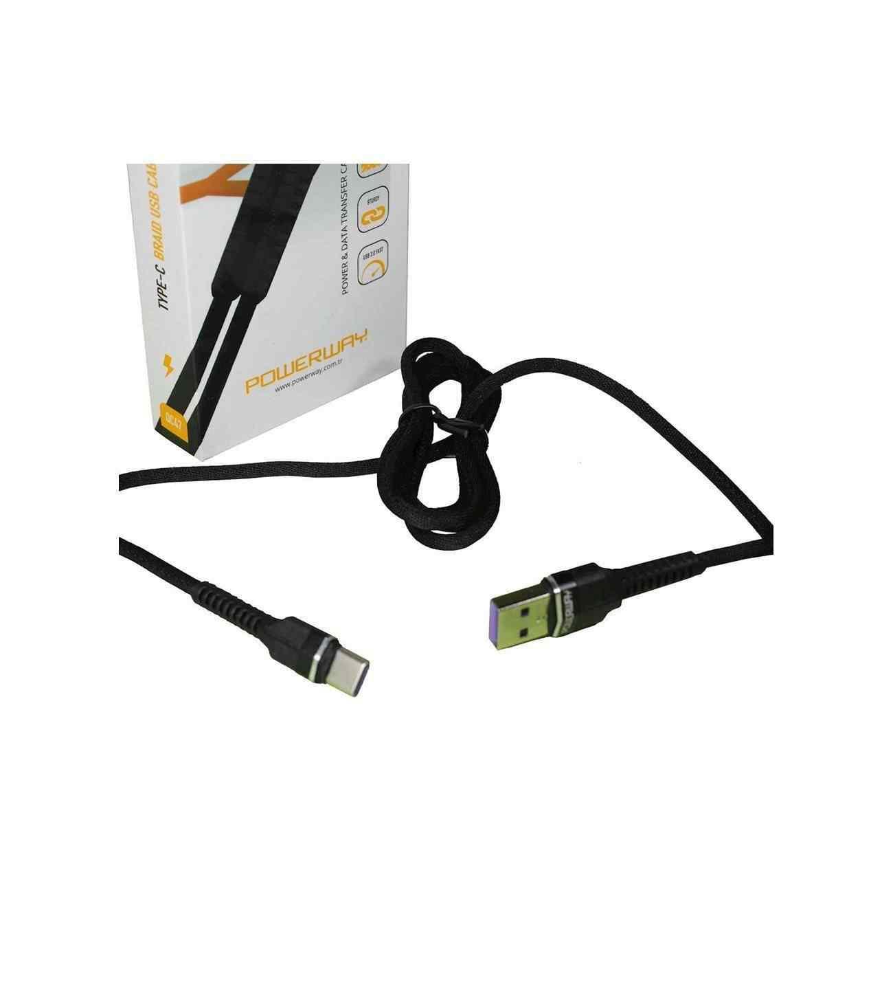 Powerway Type-C USB Hızlı Şarj ve Data Aktarım Halat Kablo USB 3.0 QC47