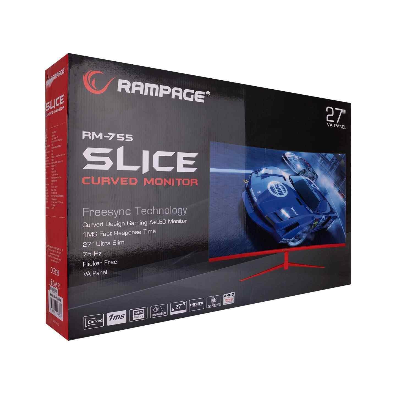 Rampage RM-755 SLICE 27 75Hz 1ms Full HD A+ VA Panel Çerçevesiz 170°-160° PC Curved Oyuncu Monitörü