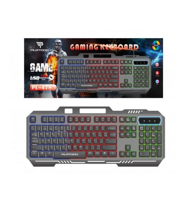 Platoon PL-478 Metal Kablolu RGB Işık Efekli Oyuncu Klavye Q TR