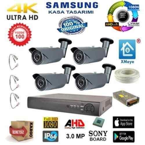 4 KAMERALI | 2.0 MP SONY LENS 1080N AHD XMeye KOMPLE SET JT-02